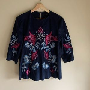 Zara Faux Suede Embroidered top S